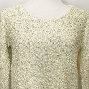 Zara Tops - Zara Sequin Knit Sweater Chiffon Under Layer Cream